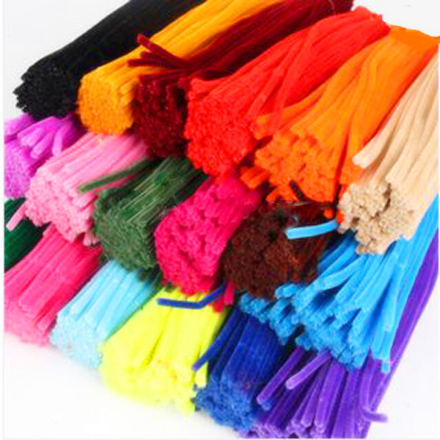 Multifunctional 100Pcs Chenille Stems Pipe Cleaners Kindergarden DIY Materials
