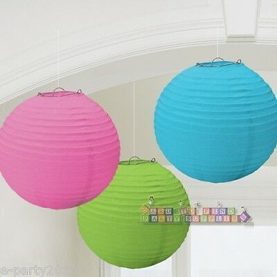 (3) RAINBOW MULTI-COLORED PAPER LANTERNS ~ Birthday Party Supplies Decorations