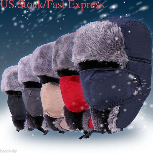 US Men Winter Fur Ushanka Women Trapper Hat Aviator Earflap Ski Cap Warm Trooper