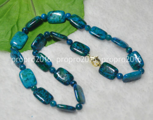 "13x18mm Azurite Gemme Phoenix Pierre Rectangle Perles Colliers 17-24/"""