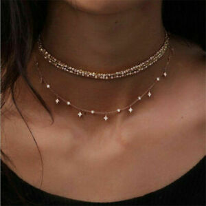 Women-Multilayer-Choker-Necklace-Crystal-Star-Chain-Gold-Summer-Jewelry-New