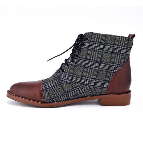 Men Plaids Combat Lace Up Ankle Shoes Smart Formal Boots Outdoor Casual Party US