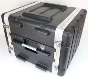 8 HE Double Door Hartschlenrack Flightcase KR-19, 8HE ABS Kunststoffrack schwarz