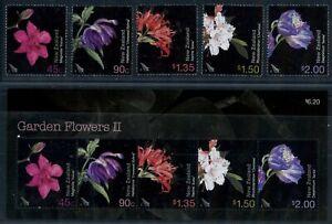 New Zealand 2004 Garden Flowers set of 5 + sheet MNH