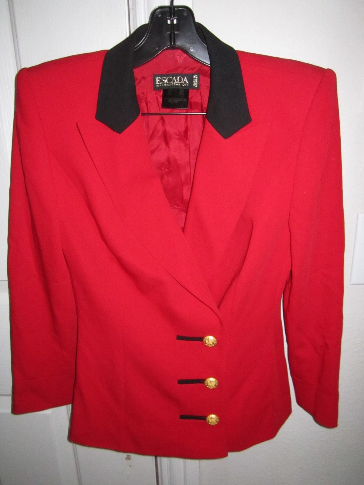 ESCADA MARGARETHA LEY RED DOUBLE BREASTED BLAZER - SIZE 34 - MADE IN GERMANY