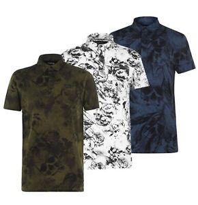Homme-Firetrap-Bouton-Manches-Courtes-Casual-Imprime-Polo-Shirt-Tailles-S-a-XXL