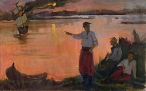 Russischer-Realist-Expressionist-Ol-Leinwand-034-Kosaken-034-79x49-cm