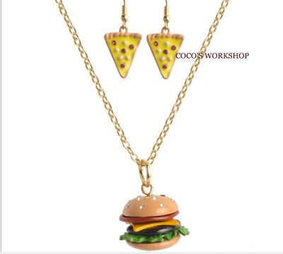 Funky burger necklace food pendant necklace girls jewellery gift