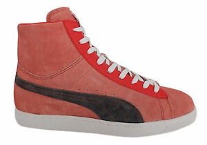 Puma Suede Mid Washed BRTS Mens Unisex Trainers Red Leather 354653 ... 0ef28a1dd949