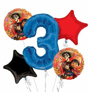 Disney-Coco-Jumbo-3nd-Birthday-Party-Foil-Mylar-Balloon-Bouquet-5-pieces-Set