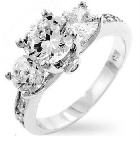 Three Stone 18K White Gold GP 2.60ct Simulated Diamond Sz 7 Engagement Ring G21