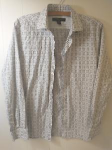 Pronto Uomo Mens White Gray Long Sleeves Collared Button Down Shirts Size Medium