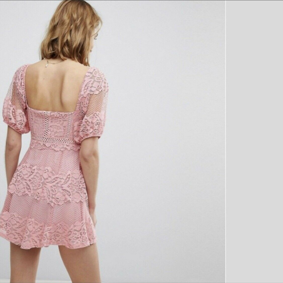 FREE PEOPLE Be Your Baby Lace Lace Lace Mini Dress color Pink Size Large-L  128 FP NWT 4949f2