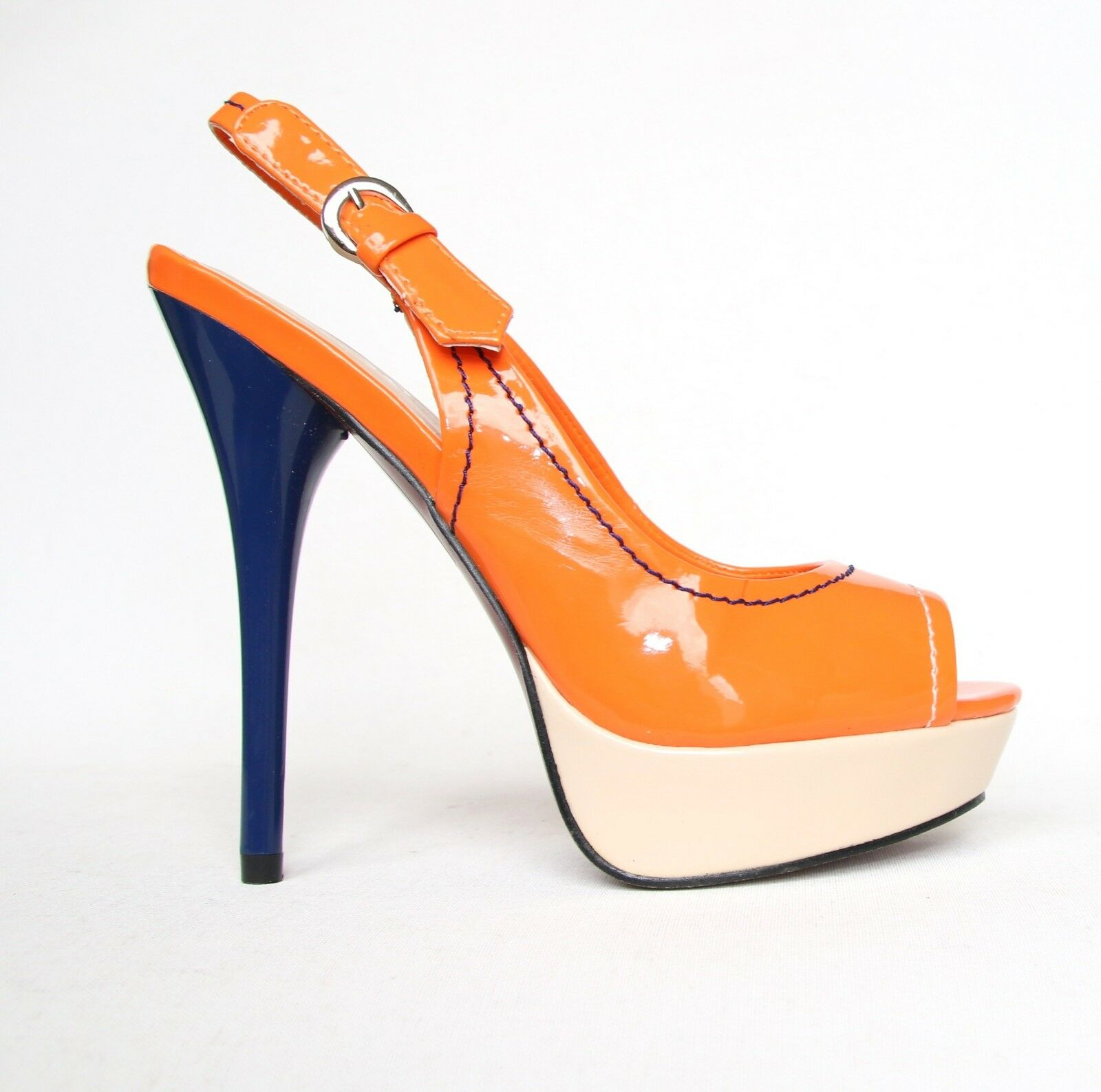 Lack High Heels Stilettos Pumps 36 Orange Riemchen Sandaletten Peeptoes 1817-GL