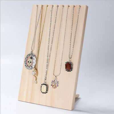 Solid Wooden Wood Jewelry Display Stand Necklace Showcase Handing Rack Ebay