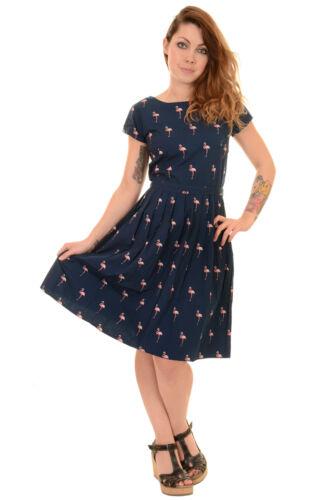 Ladies 50s 60s Indie Retro Vintage Flamingo Tea Party Belt Dress