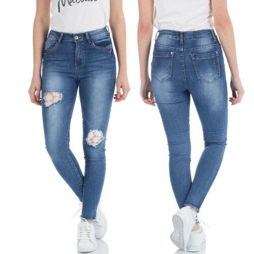 Malucas Damen High Waist Jeans Hose Skinny Röhrenhose Röhrenjeans Stretch Denim