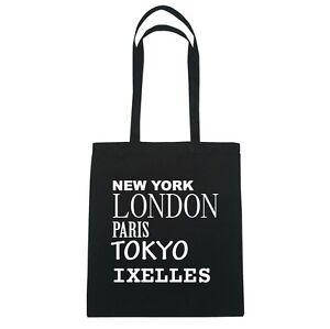 New York, London, Paris, Tokyo IXELLES - Jutebeutel Tasche - Farbe: schwarz