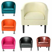 Cream Faux Leather Tub Chair W76cm x D73cm x H75cm TEMPURA