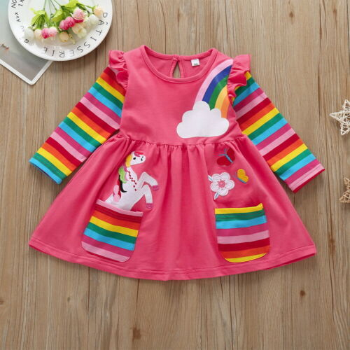 Toddler Kids Girls Unicorn Rainbow Long Sleeve Mini Skater Dress Casual Clothes