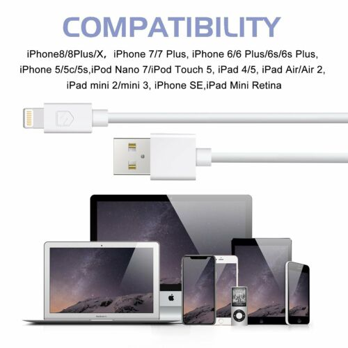 Sync USB Data Cord Charger Charging Cable 4Pack 6FT Extra Long 8Pin iPhone iPad