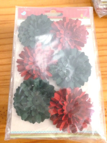 Christmas Paper Daisies Paper Flowers Little Birdie NEW Holiday Elements