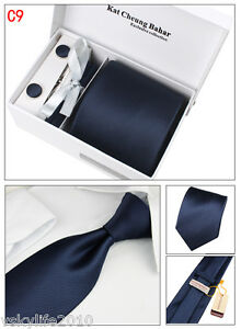 Mens Tie Set Silk Classic Tie Cufflinks Hanky Tie Clip Gift Box Purple Strips