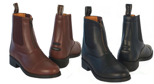 Details about  /Toggi Ascot Zip Front Leather Jodhpur Paddock Boot Rubber Sole