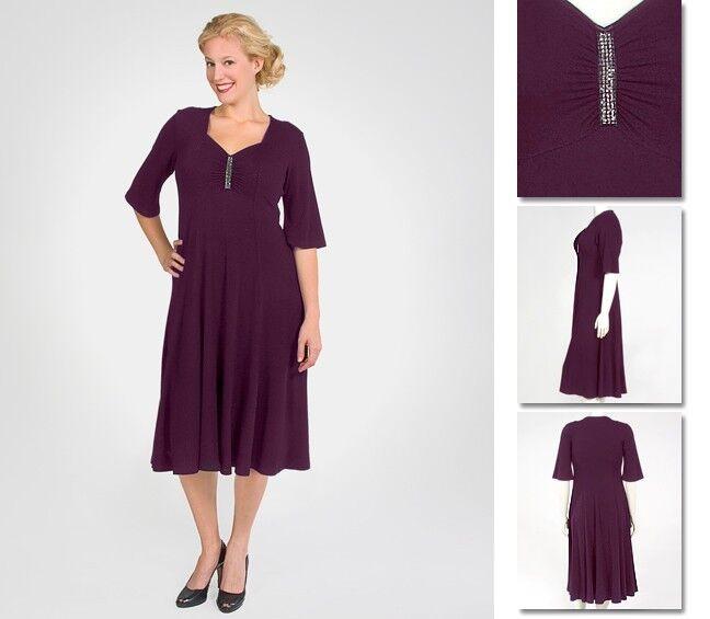 NEW Zaftique ELEGANT RHINESTONE Dress EGGPLANT Purple 1Z 2Z   16 XL 1X 2X