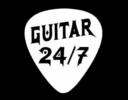 "GUITAR PICK 24//7 VINYL DECAL 6/"" WHITE ELECTRIC ACOUSTIC"