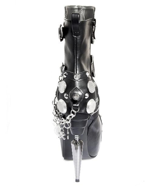 Hades ATHENA Black Platform Ankle Boots Metal Metal Metal 5in Spike Heels Buckles Chain 10ee12