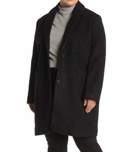 Andrew Marc NWT 14W Paige Boucle Wool Blend Coat Black Plus Size Womens