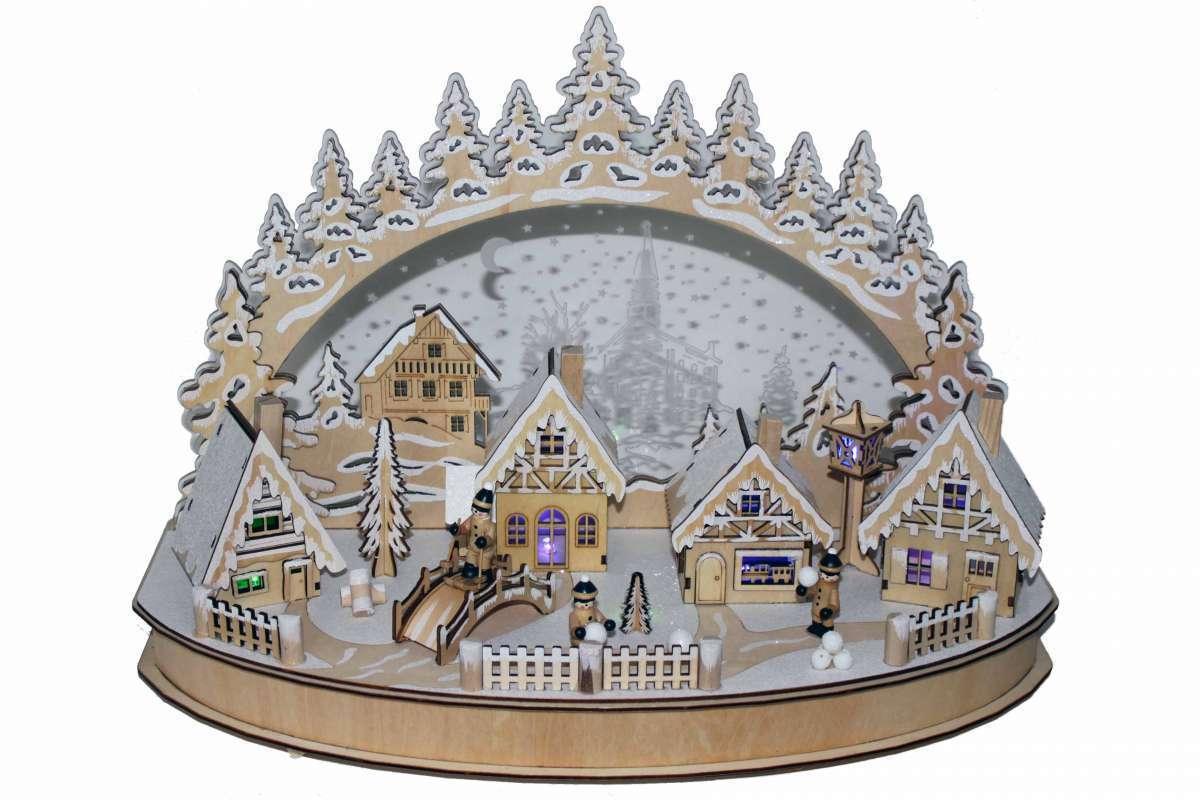 DEL-Lumières Arc  Hiver Ville  acrylique, bois couleur changeante Schwibbogen 50x23x36 cm