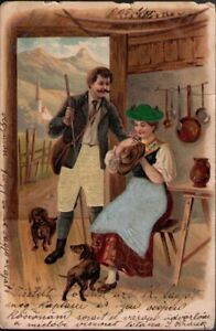 11wl-Postcard-Man-Lady-and-Dogs