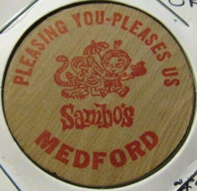 OR Wooden Nickel Token Oregon #1 Vintage Sambos Restaurants Medford
