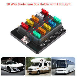 10 way atc ato circuit blade fuse box block holder led light for car Universal Automotive Fuse Box image is loading 10 way atc ato circuit blade fuse box