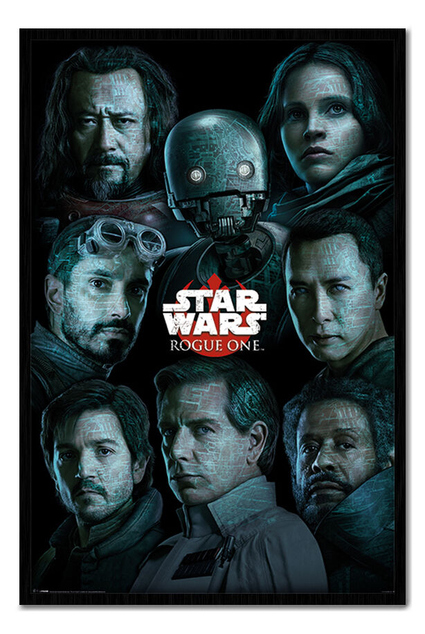 Star Wars Rogue One Faces Poster Magnetic Notice Board Inc Magnets