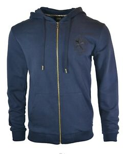 8f279717 CAVALLI CLASS ZIP UP HOODIE NAVY BLUE STAR LOGO HOODED SWEATSHIRT ...