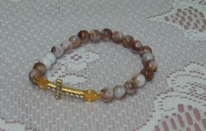NEW-Religious-Stretch-7-034-Bracelet-Multi-Brown-Glass-Beads-Rhinestone-Cross-Gift