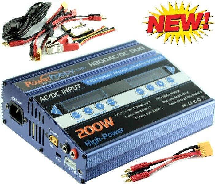 Powerhobby H200 AC   DC Fast Lipo Battery Charger Arrma w Banana XT90 azul