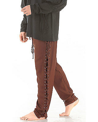 Lace Up Pants Medieval Renaissance Pirate Sizes S/M-XXL Rayon Brown Red Green