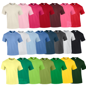 GILDAN-T-shirt-Uomo-Cotone-Tinta-Unita-Manica-Corta-Top-T-shirt-Taglie-Colori-al-Neon-tee