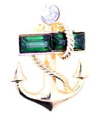Gold and green anchor brooch / pin