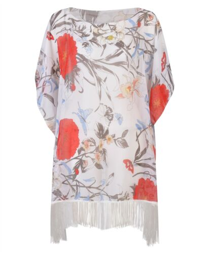 Women Beach Cover Up Kaftan Flower and Butterflies Print Fringes Ladies One Size