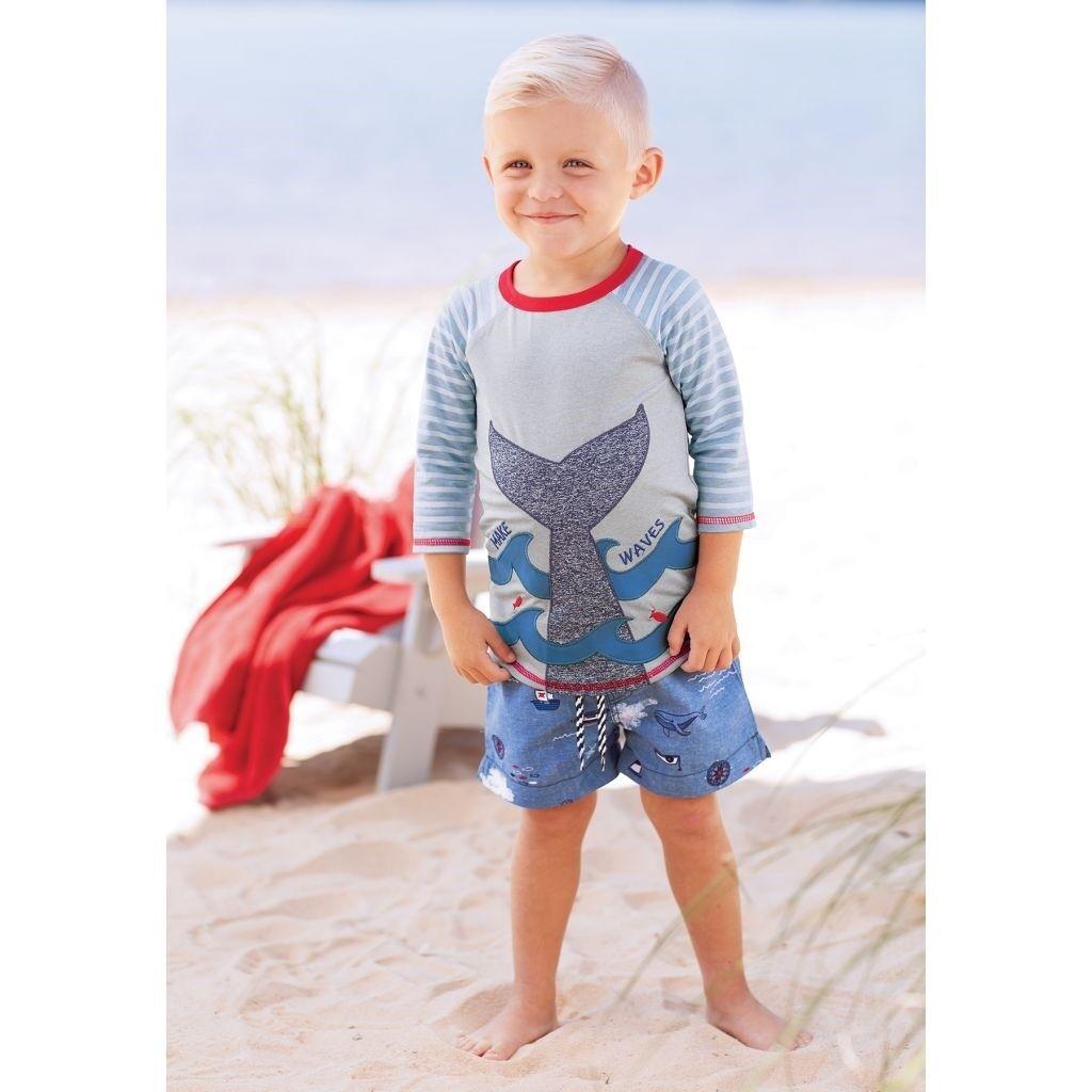 Mud Pie E8 Sail Away Baby Toddler Boy Make Waves Whale Rash Guard 1022119