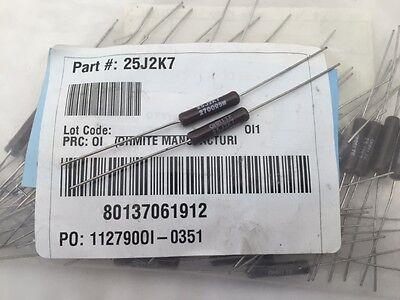 (10 Pcs) 25j2k7 Ohmite, 5 Watt 2.7k Ohm 5%, Wirewound (vitreous Enamel) Resistor