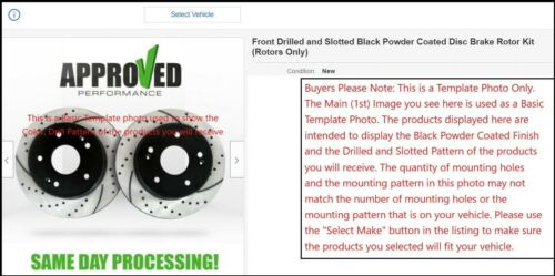 Front Set Black Powder Coated Drilled and Slotted Disc Brake Rotors Pair