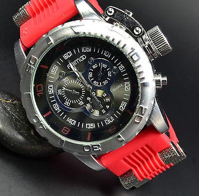 Herrenuhr Chronograph Look Silber Rot  XXL Uboot Flieger Massiv Trend Uhr