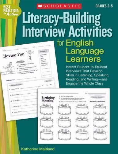 Literacy-Building Interview Activities for English Language Learners : Instant Student-to ...