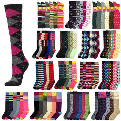 6 New Women Multi Color Fancy Zebra Design Knee High Winter Cool Socks Lot  9-11